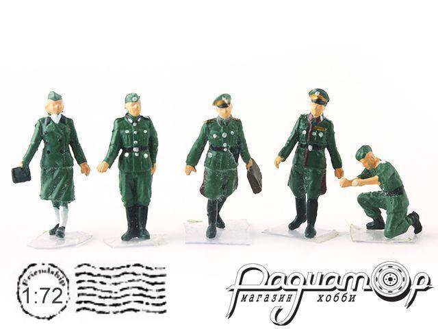 Набор фигурок немецких офицеров+механик WWII (5шт) P0408