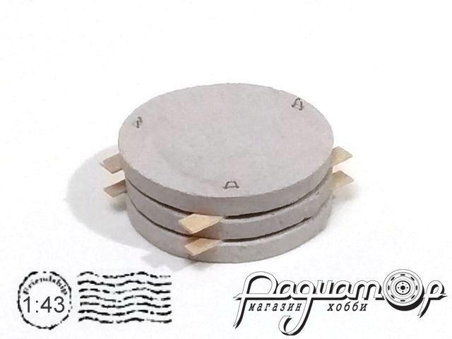 Груз Дно колодца 3шт (клееный) (32х32х12мм) HW01133
