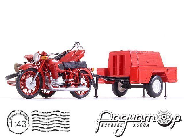 Днепр 157-П пожарный мотоцикл с прицепом (1960) dnepr157p
