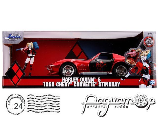 Chevrolet Corvette Stingray Coupe with Harley Quinn figure (1969) 31196