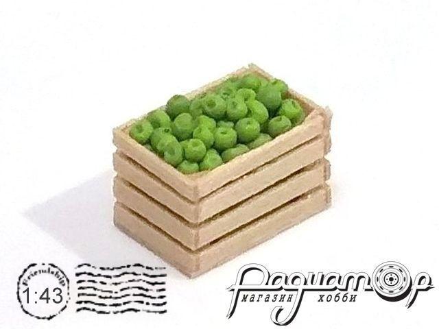 Ящик деревянный, яблоко зелёное (14х9х9мм) HW02150
