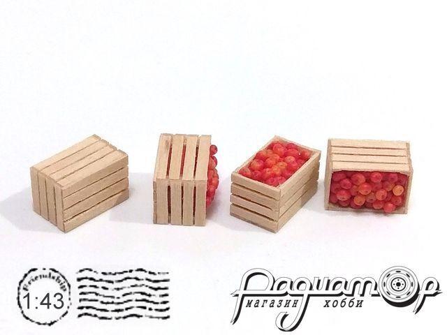 Ящик деревянный, яблоко красно-жёлтое (14х9х9мм) HW02152