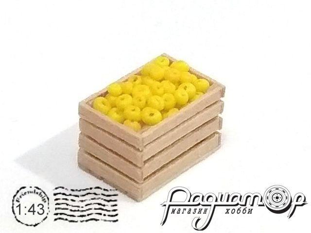 Ящик деревянный, яблоко жёлтое (14х9х9мм) HW02153