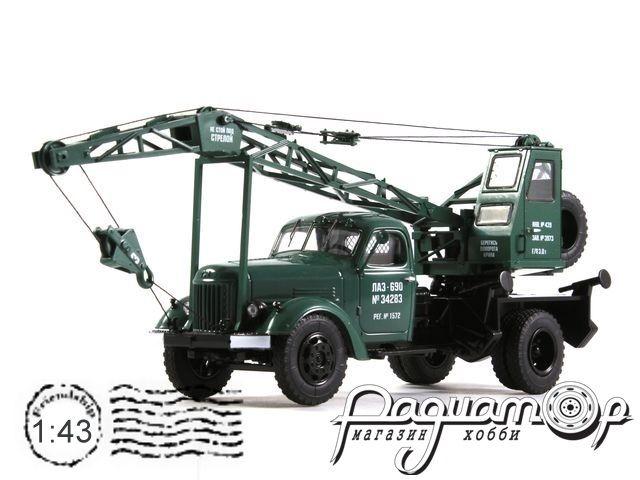 Автокран ЛАЗ-690 (на шасси ЗИЛ-164) (1960) зеленый