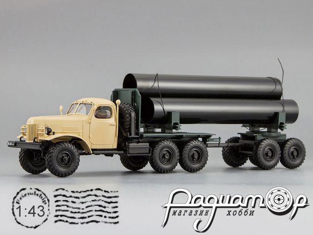 ЗИЛ-157К тягач с роспуском ТВ-5 для перевозки труб большого диаметра (1958) 115705